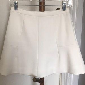 J.Crew Ivory Fluted Mini Skirt